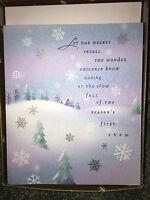 18 HALLMARK Holiday CHRISTMAS CARDS & ENVELOPES Snow Snowflake VINTAGE BOXED SET