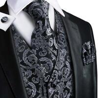 Men's Black Paisley Set  Vest Waistcoat Necktie Hanky Cufflinks Formal Dress