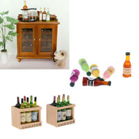 1:12 Dollhouse Miniature Dining Room Wine Cabinet with Drink Bottles Decor