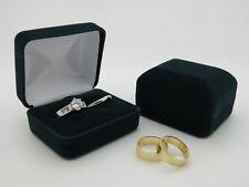 Bride & Groom Luxury Dark Green Velvet Double Wedding Ring Bearer Box