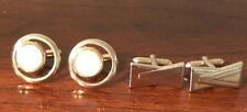 2 Vintage  Swank Cufflinks Gold Tone 1 Mother Of Pearl SIGNED Preowned
