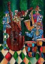 """CUBAN ART #232 ** YONEL ** CASA DE LA MUSICA I 28X40"""" SIGNED ON CANVAS"""