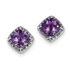 Platino Plata de Ley Diamante Original & Amatista Violeta Corte Almohada