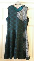 Joe Browns Sz 12 Green Sleeveless Summer Holiday Fit and Flare Dress VGC