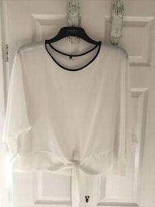 Ladies White & Black Edged Sheer Tie Blouse - Size 16