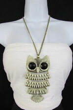 New Women Long Antique Gold Chains Fashion Necklace Extra Large Owl Bird Pendant