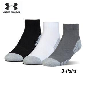 UA Socks: 3-PAIR HeatGear Tech Lo-cut (L) Graphite/ASSTD