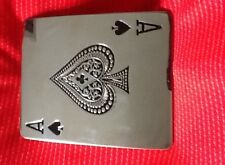 ACE OF SPADES ROYAL FLUSH CARDS GAMBLING LAS VAGAS CASINO CHROME BELT BUCKLE