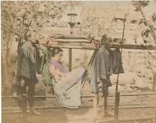 Japon, Traveling Chair  Vintage albumen print.  Tirage albuminé aquarellé  1