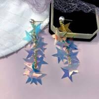 Star long pendant earrings Korea rainbow Bling multi-layer sequins