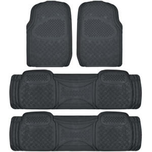 Full Set Floor Mats for Chrysler Town & Country, 4 Piece 3 Row Black Semi Custom