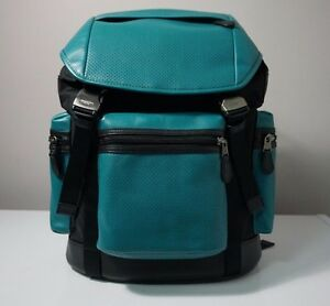 Coach Terrain Trek Perforated Leather Seagreen/Black Backpack F57477