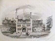 c.1842 Antique Print ; Kenyon Peel Hall, Little Hulton, Greater Manchester