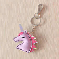 Cute Women Girl Unicorn PU Leather Keyring Keychain Bag Pendant Accessories