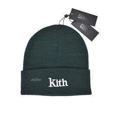 e2b4906c5c000 NWT Kith NYC Ronnie Fieg Dark Green Serif Logo Beanie Knit Hat DS 2018  AUTHENTIC