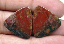 NATURAL BLOOD STONE CABOCHON FANCY SHAPE PAIR 24.40 CTS LOOSE GEMSTONE D 5824