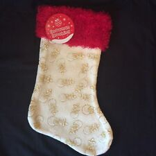 Christmas Stocking with Snowman design in gold / cream / red Finish - 40cm