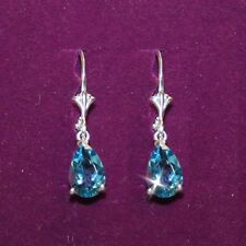 Blue Topaz 3 Carats Lever Back Dangle Earrings White 14k Gold over 925 SS