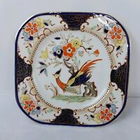 Vintage Wood's Burslem Denbigh Floral Bird Plate Made in England