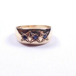 Sapphire gypsy ring 9 carat yellow gold 3 stone size K
