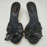 Coach Karen Black Leather Bow Tie Slip On Cork Wedge Heels Sandals Women's 10 B