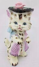 Vtg Lefton Dressed Kitty Cat Figurine Fancy Hat Pink Rose Scarf Japan