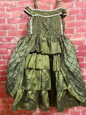 Victorian Style Little Kery Tulle Green Girls 2T Dress Embroidered Open Shoulder