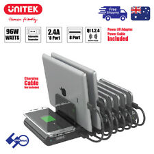 96W 8-Port USB Charging Station Support QI Charge with Apple Watch Stand Y-2192