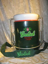 Large Grolsch Premium Lager Hinged Bottle Top Beer Cooler with strap