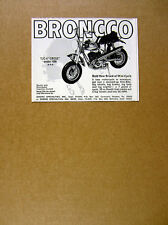 1969 Broncco T/C-4 CROSS mini-cycle minibike motorcycle vintage print Ad