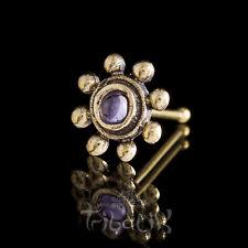 Brass & Amethyst Nose Stud, Brass Nose Pin, Tribal Nose Jewellery (Code 30)