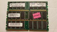 3 Desktop DDR RAM (1) AOTQD 1GB + (2) 512MB DDR (All fit the same)