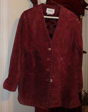 S Ladies Womens Apart Impressions Leather Jacket Blazer Coat Purple Lined Button