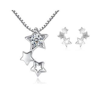 925 Sterling Silver Triple Star Chain Necklace Stud Earrings Womens Jewellery UK