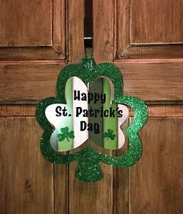 St Patricks Day Spinning Dual Layered Shamrock Sign New