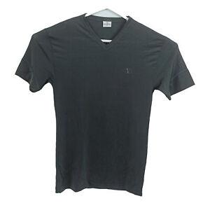 VINTAGE Valentino Body Mens Shirt Size L Black Logo V-Neck Made In Italy 90s