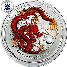 Australien 1 Dollar Silber 2012 Lunar Serie II: Münze Jahr des Drachen in Farbe