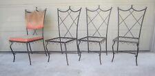 Rare set Samuel Copelon wrought iron brass Hollywood Regency dining patio chairs