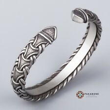 VIKING WRISTBAND WITH TRADITIONAL SCANDINAVIAN PATTERN JEWELRY PEWTER BRACELET