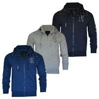 Mens Crosshatch Zip Up Sleeve print Hoodie Sweater