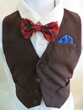 Sz 24M Dark Brown/Blue Pinstriped #16C Infant BOYS Polyester Suit Vest Waistcoat