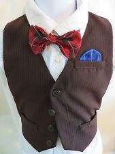 Sz 24M Dark Brown/Blue Pinstriped #16C Infant BOYS Polyester Suit Vest Waistcoat