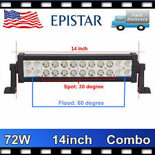 14inch 72W Combo Epistar LED Work Light Bar Offroad Driving Jeep SUV ATV Lamp PY