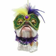 December Diamonds Glass Mardi Gras Bulldog Ornament 79-81006 5 Inches