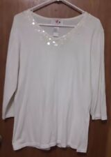Quacker Factory S Small Off White Sweater QVC iridescent sequins 100% Cotton QF