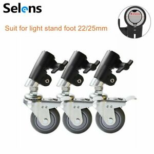 3Pcs Photo Studio Pro Caster Wheel for Flash Light Stands & Boom Suit Stand Foot