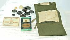 Vintage tie sewing kit military olive drab canvas w/contents Nobles Co Red Cross