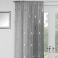 GLITTERY SILVER METALLIC SHIMMER BIRCH TREES THICK GREY VOILE NET CURTAIN PANEL