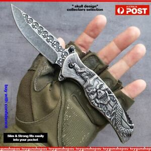 3D Skull Knife Gothic Stonewash folding knife Skull pocket Camping Viking knife
