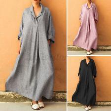 UK Women V Neck Long Sleeve Casual Loose Shirt Maxi Dress Kaftan Robe Plus Size